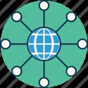 global, global hierarchy, global network, globe with sitemap, hierarchical network, network icon