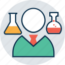chemistry expert, lab assistant, lab expert, lab incharge, lab technician, laboratory, scientist icon