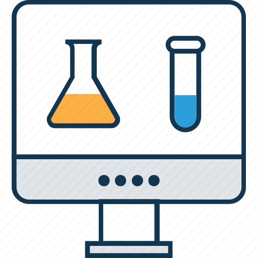 lab experiment online, lab test, online experiment, online lab, online science education, physical science, science experiment icon