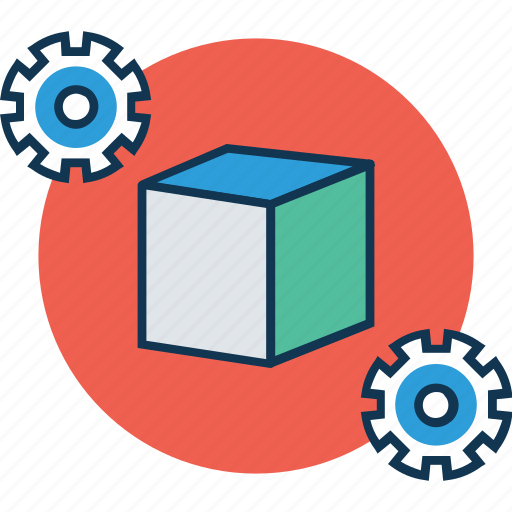 cube, cube preferences, cube settings, cube with cogwheel, cubes, gear wheel, rubik, salt, sugar icon