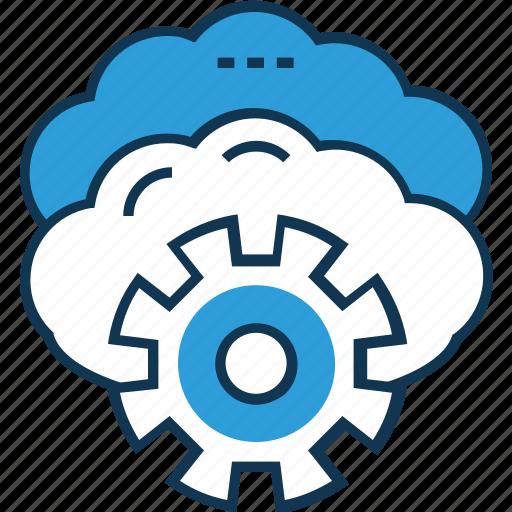 cloud maintenance, cloud repair service, cloud settings, cog, network preferences, network settings, optimization icon