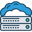 cloud computing, cloud hosting, cloud server, database, network server, server, server rack icon