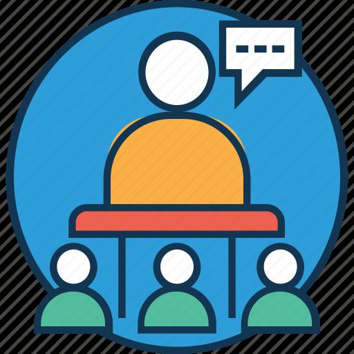 communication, conference, convention, lecture, presentation, public speaker, speech icon