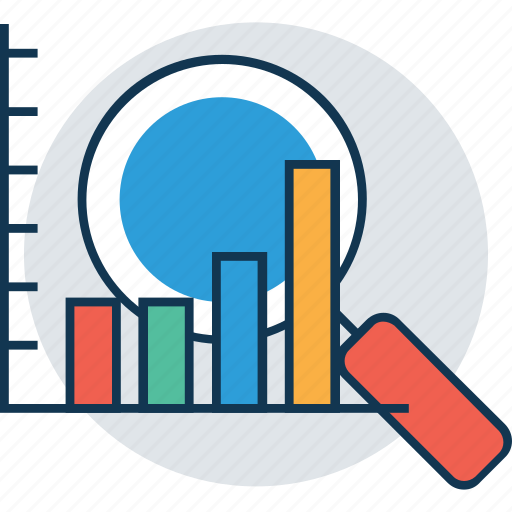 bar graph with magnifier, find graph, graph with magnifier, line graph, online analytics, seo graph, webpage icon