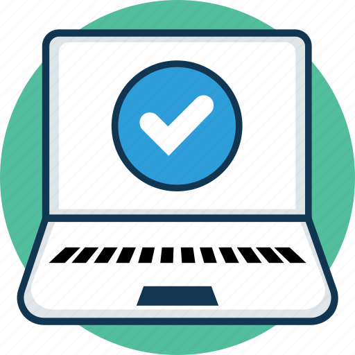 laptop, laptop computer, laptop pc, macbook, notebook, verified laptop screen icon
