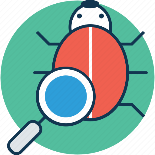 animal, bug, bug with magnifier, computing error, find bug, insect, invertebrate icon