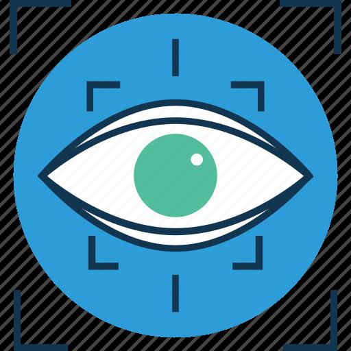 eye, focus, focus selector, look, medical, retina, view, vision icon