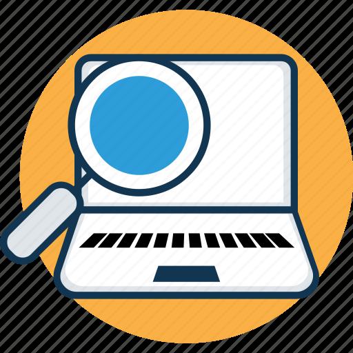 laptop, laptop computer, laptop pc, laptop screen, laptop with magnifier, macbook, notebook icon