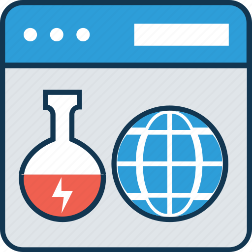 analytics, beaker, experiment lab online, hourglass, infographic, laptop, online lab icon