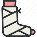 fracture, gypsum, health, leg, medical, plaster, trauma icon
