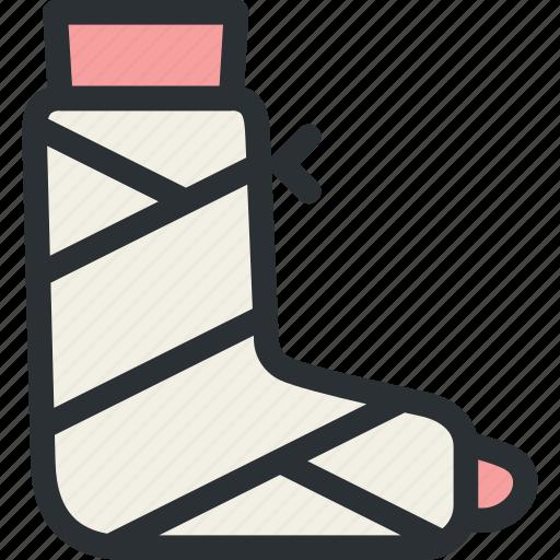 fracture, gypsum, health, leg, medical, plaster, trauma icon