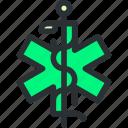 ambulance, caduceus, cross, health, healthcare, medical, snake icon