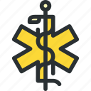 ambulance, caduceus, cross, health, healthcare, medical, snake icon
