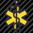 ambulance, caduceus, cross, health, healthcare, medical, snake