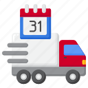 monthly, delivery, shipping, vehicle icon