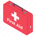 first aid kit, healthcare kit, medical box, medical case, medical kit, survival kit icon