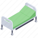 carrying bed, hospital accessories, hospital bed, patient bed, stretcher icon