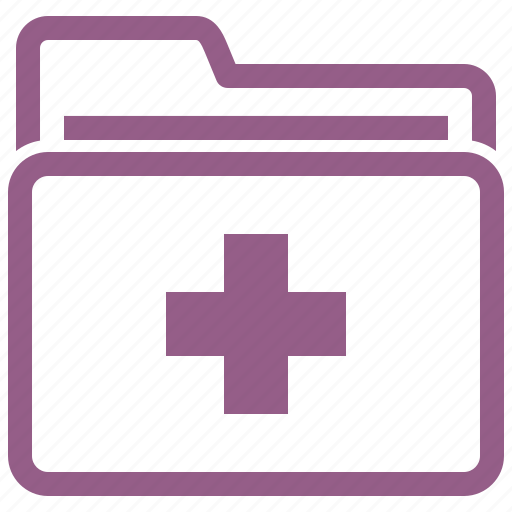 folder, health records, medical files icon