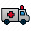 ambulance, car, healthcare, hospital, transportation, travel, vehicle icon