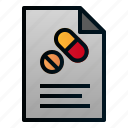 document, file, healthcare, hospital, paper, pharmacy, prescription icon