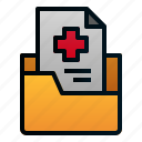 file, folder, health, hospital, medical, paper, report icon