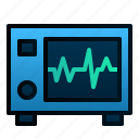 beat, ecg, electrocardiograph, hearth, hospital, machine, tools icon