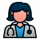 avatar, doctor, female, hospital, people, profession, woman icon