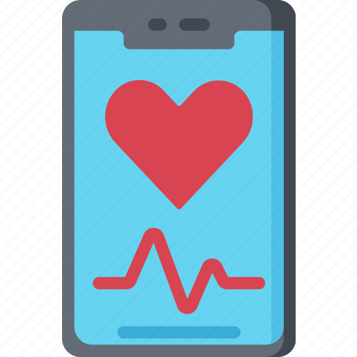 health care, heart, hospital, medical, mobile, monitor, phone icon