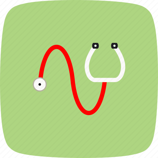 abstract, device, doctor, heart, medical, stethoscope, technology icon