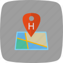 hospital, hospital location, hospital pin, medical location icon