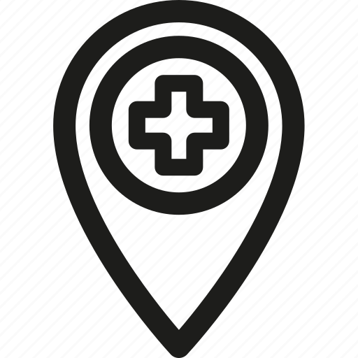 gps, hospital, location, map, medical, navigation, pin icon