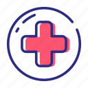 aid, healthcare, medical, red cross icon