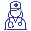 doctor, nurse, stethoscope icon