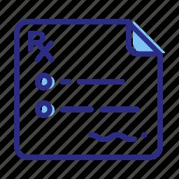 checklist, clipboard, medical file, medical treatment, prescription icon