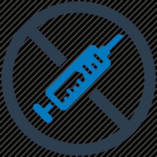 drugs, forbidden, no, prohibited, syringe icon