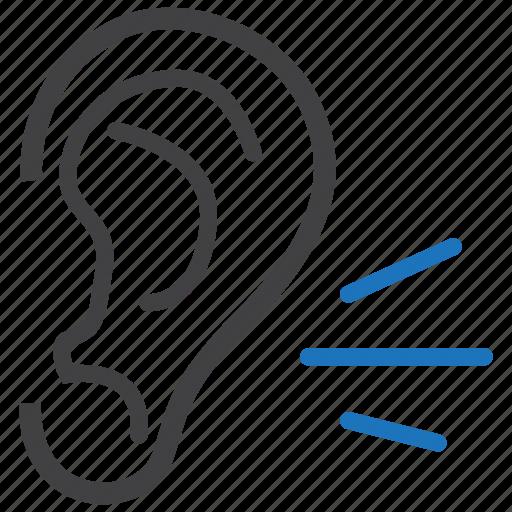 ear, hear, hearing, listening, otology, sound icon