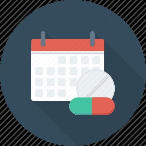 calendar, date, drug, event, medical, schedule icon