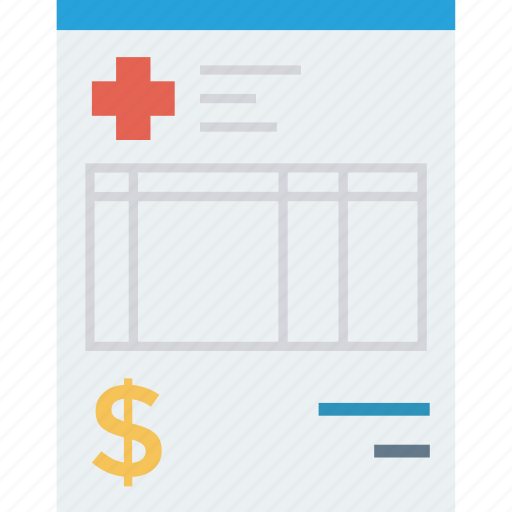 bill, hospital, invoice, medical, payment, receipt, ticket icon