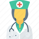 doctor, female, lady, medical, nurse icon