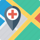 direction, hospital, location, map, pin