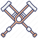 dissability, crutch, crutches, injury icon