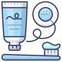 floss, toothbrush, toothbrushing, toothpaste icon