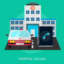 ambulance, building, ed, emergency, hospital calling, medical, urgent icon