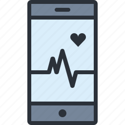 health, heart, hospital, medical, monitor, phone icon