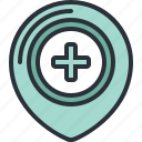 emergency, health, hospital, location, medical, pin icon