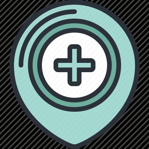 emergency, health, hospital, location, medical, pin icon
