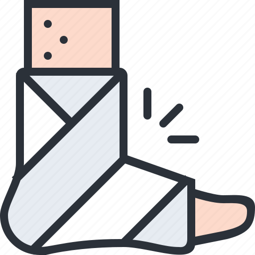 bandage, cast, health, hospital, injury, leg, medical icon