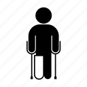 broken leg, cast, crutch, medicine, orthopedics, person icon
