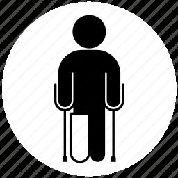 broken leg, cast, crutch, medicine, orthopedics, person icon