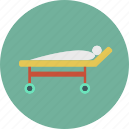bed, hospital, medical, medicine, patient, sick, stretcher icon